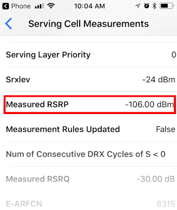 iPhone Serving Cell Measurements (iOS 11 or later)