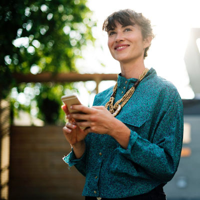 Woman happy with her smartphone
