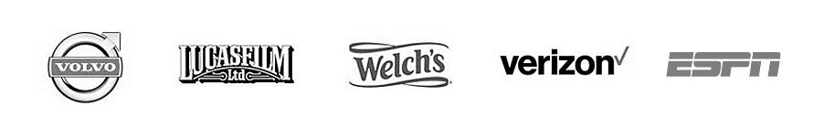 Volvo, Lucasfilm LTD, Welch's, Verizon, ESPN