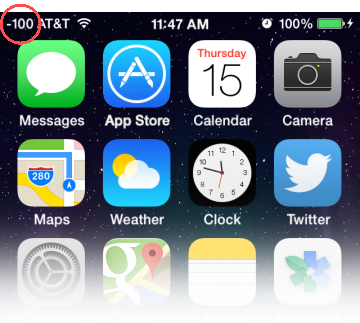 iPhone with dBm displayed in the Status bar (iOS 10 or earlier)