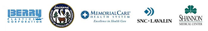 Berry Plastics Corporation, Louisiana Department of Agriculture and Forestry, MemorialCare Health System, SNC/Lavalin, Shannon Medical Center